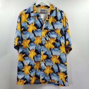 Vintage Quicksilver Hawaiian Shirt Button Up Blue